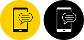 Text Chat on Cell Phone Icon. This 100% royalty free vector illustration is featuring a round button in yellow with the main icon depicted in black. There is an alternative black and white version on the right.