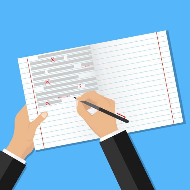 text auf fehler prüfen. berichtigung von fehlern im text. - korrekturlesen stock-grafiken, -clipart, -cartoons und -symbole