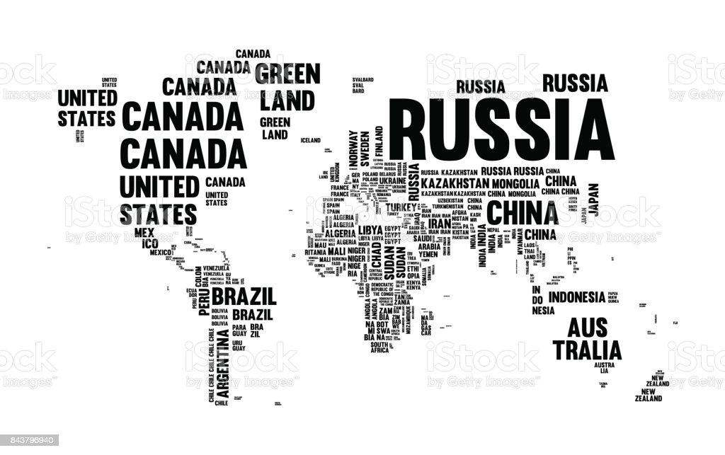 Land Name Welt Karte Typografie Textgestaltung – Vektorgrafik