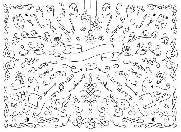 text decoration elements - doodles and hand drawn frames stock illustrations, clip art, cartoons, & icons
