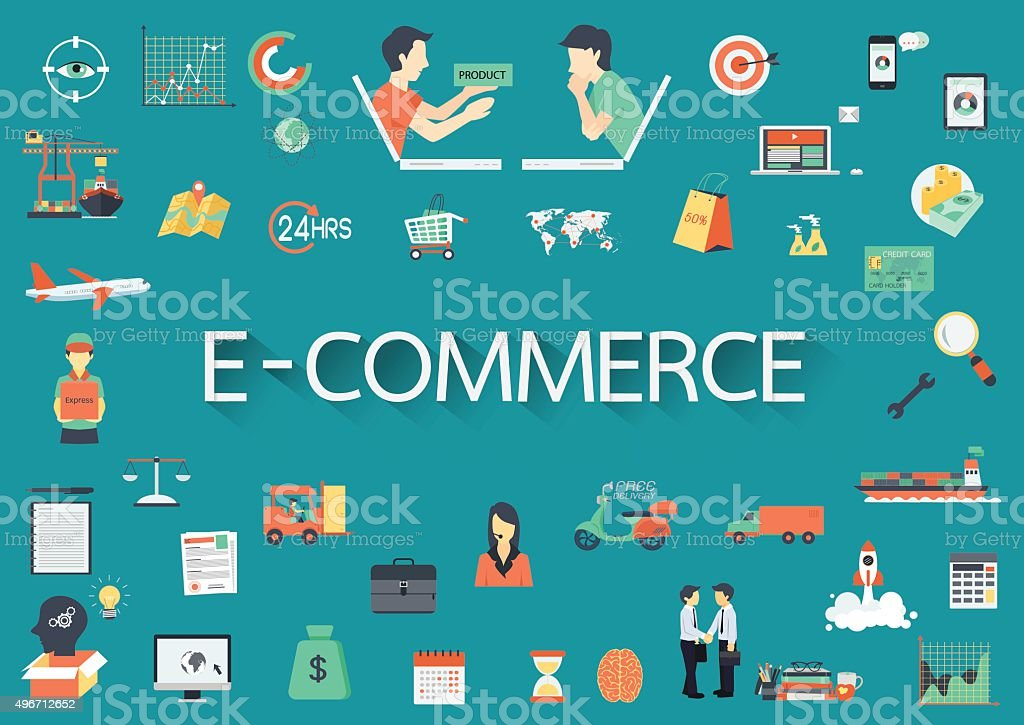 Text E-COMMERCE with long shadow surrounding by concerning flat icons vector art illustration
