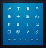 Text editing glyphs set