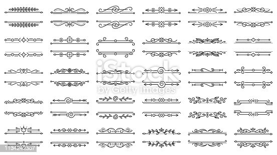 Text Frame thin line set. Outline sign kit of border ornament. Vintage Design linear icon floral elegant decor, Victorian style. Simple text frame contour symbol isolated on white Vector Illustration