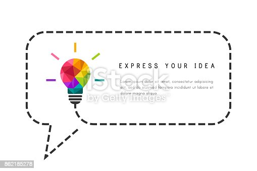 Text frame template with low poly lightbulb and speech bubble as creative idea concept