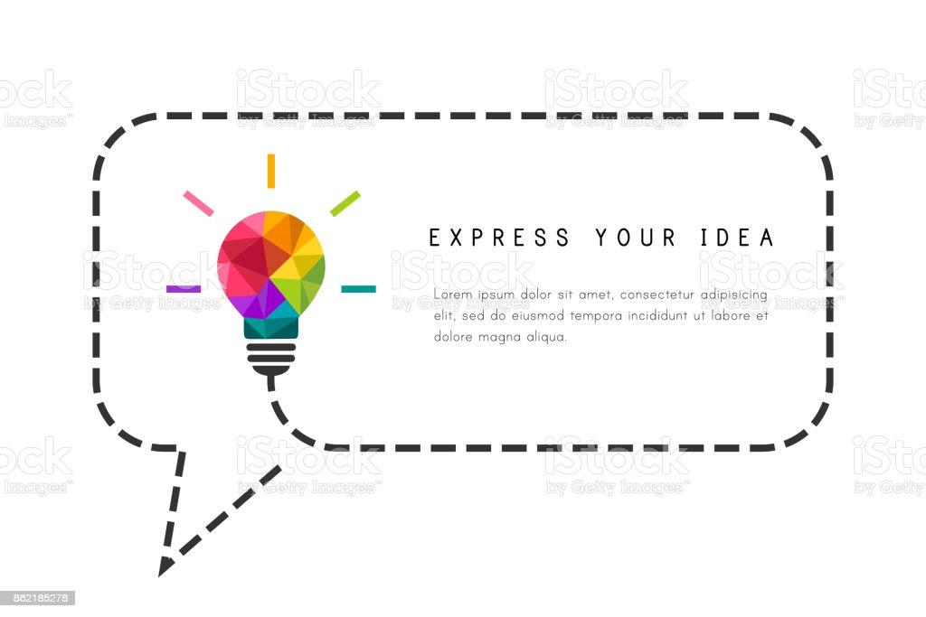 Modelo de quadro de texto com lâmpada e discurso bolha - ilustração de arte em vetor