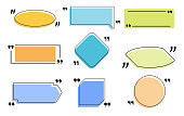 Text frames quotation boxes. Color bubbles window templates for direct speech text notes and quotes. Mention text frames in quotation marks. Set of isolated vector icons for web links.