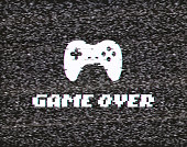 Text Game over on glitch background Screen of analog tv with gameplay vector illustration