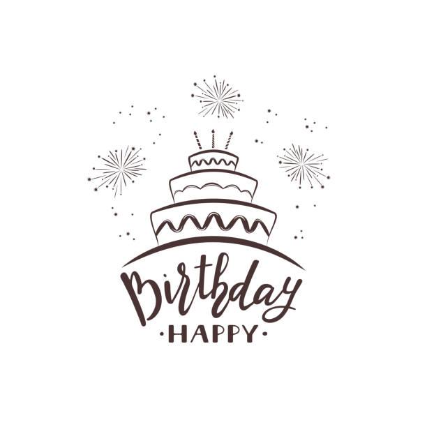 tekst wszystkiego najlepszego z tortem i fajerwerkami - ciasto stock illustrations