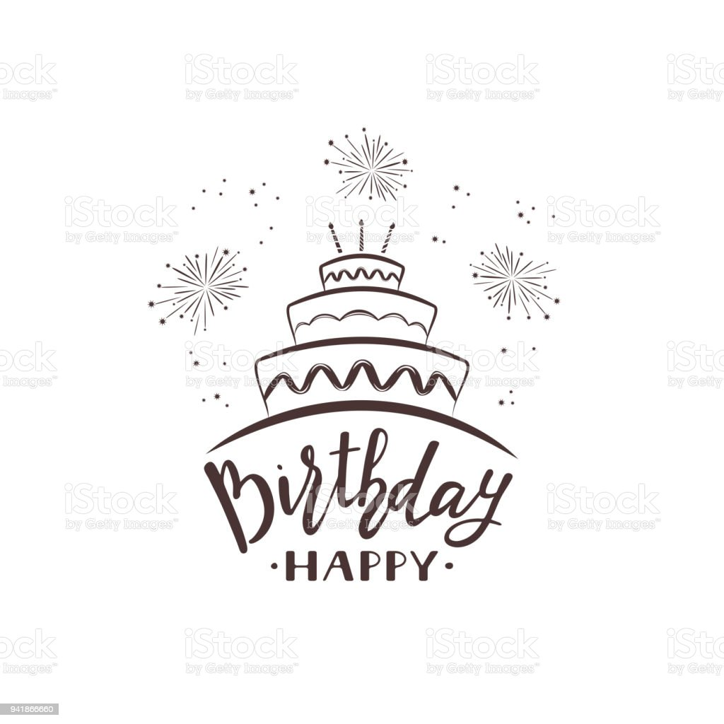Text Happy Birthday with cake and fireworks vector art illustration