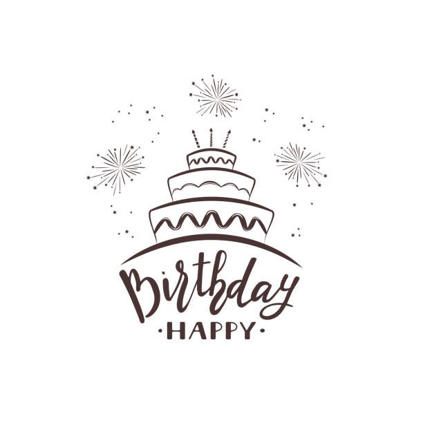 text happy birthday with cake and fireworks - happy birthday cake stock illustrations, clip art, cartoons, & icons