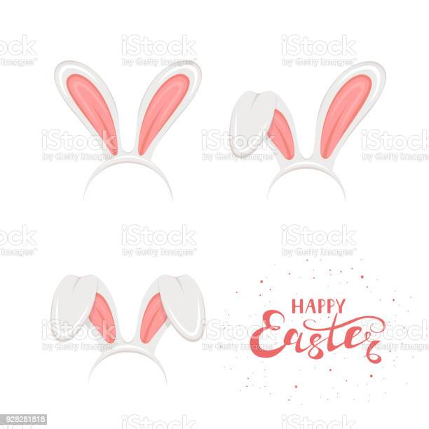Text happy easter and set of rabbit ears on white background vector id928281818?b=1&k=6&m=928281818&s=612x612&h=ywadjd9dqza1 nl6mto5dg7rjyhq7osxqyzjr1gmn70=