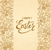 Floral elements with decorative eggs and brown lettering Happy Easter on beige background, illustration.
