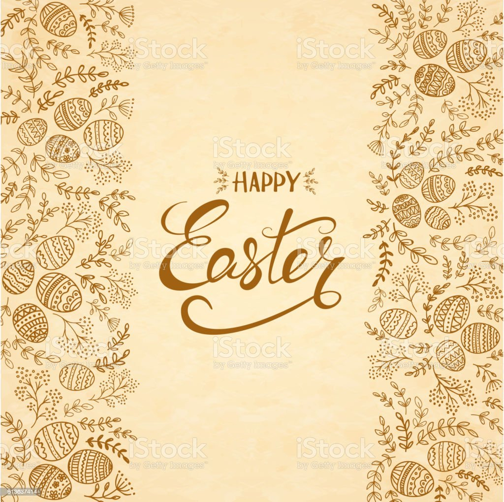 Texte Joyeuses Pâques avec des oeufs et des éléments floraux - Illustration vectorielle