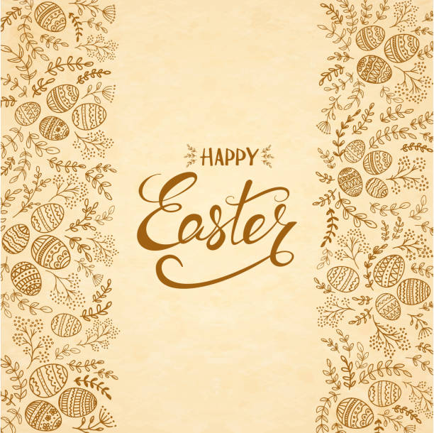 Text Happy Easter with eggs and floral elements vector art illustration