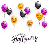 Text Happy Halloween and decoration on white background with colored balloons, illustration.