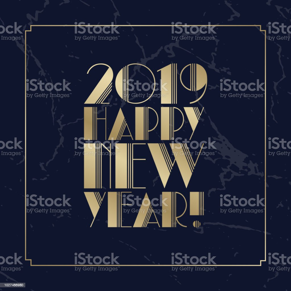 text happy new year 2019 golden art deco font christmas greeting card or new year