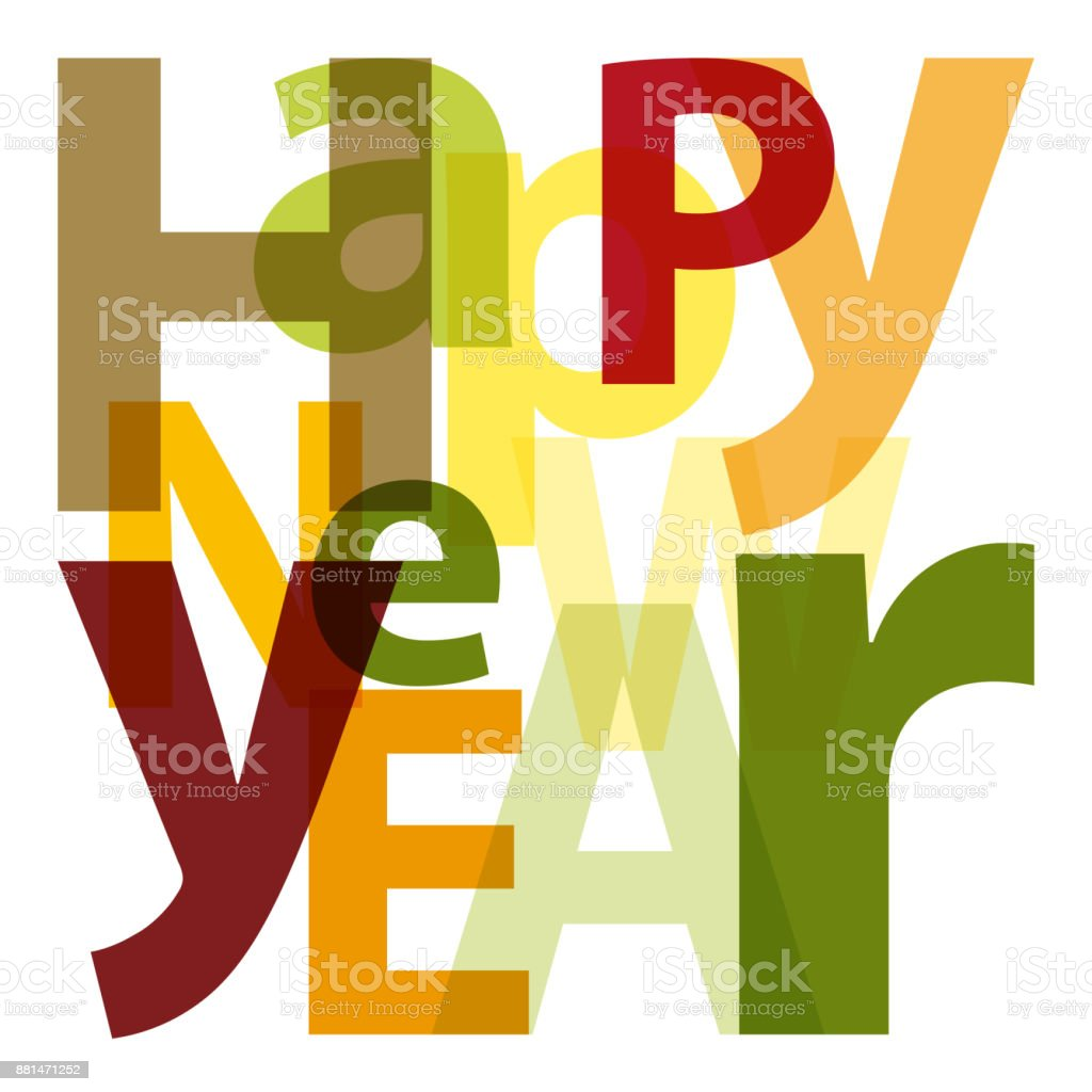 Text Happy New Year vector art illustration