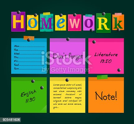 istock Text Homework and colorful sticky paper attached to a blackboard with magnets. Vector. 925481606