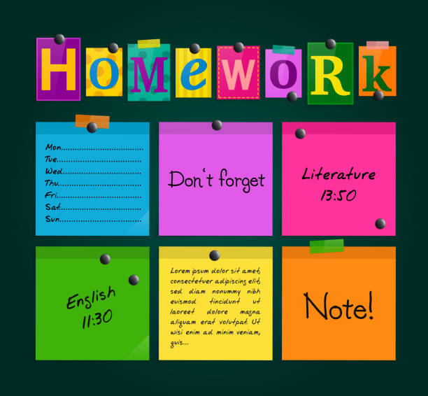 text homework and colorful sticky paper attached to a blackboard with magnets. vector. - homework stock illustrations