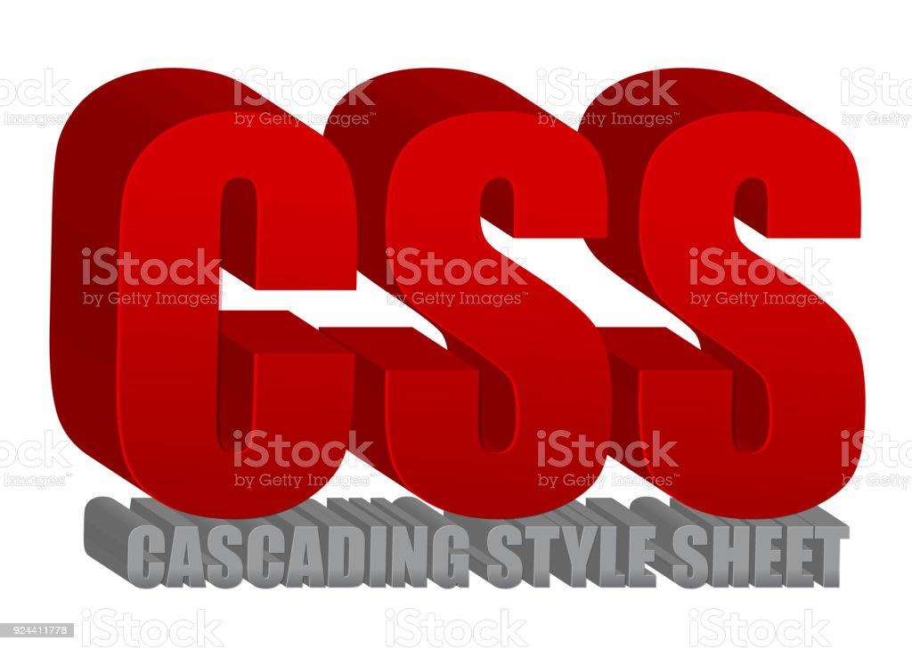 CSS text illustration design over a white background vector art illustration