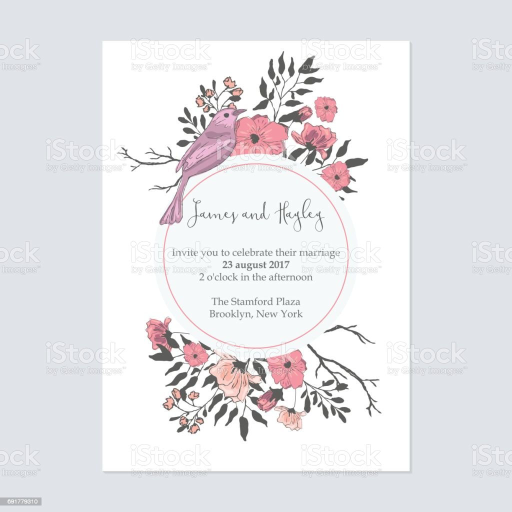 Text In A Circle With Flowers And Birds Floral Wedding Invitation