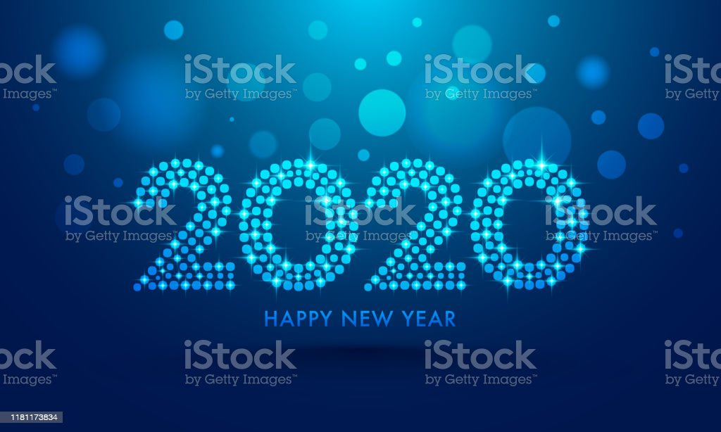 2020 text in dots pattern with lighting effect on blue bokeh background for Happy New Year celebration greeting card design. - Royalty-free 2020 arte vetorial