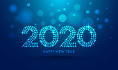 2020 text in dots pattern with lighting effect on blue bokeh background for Happy New Year celebration greeting card design.