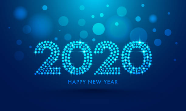 2020 text in dots pattern with lighting effect on blue bokeh background for happy new year celebration greeting card design. - happy new year stock illustrations