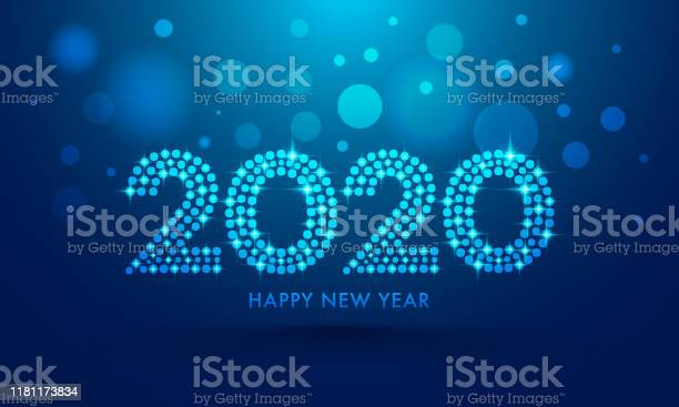 2020 Text In Dots Pattern With Lighting Effect On Blue Bokeh Background For Happy New Year Celebration Greeting Card Design - Arte vetorial de stock e mais imagens de 2020