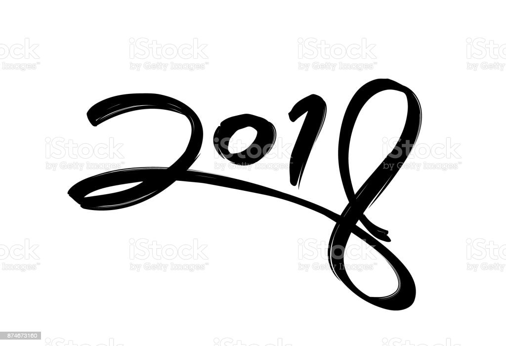 2018 text in dry brush free hand style in happy new year concept royalty free