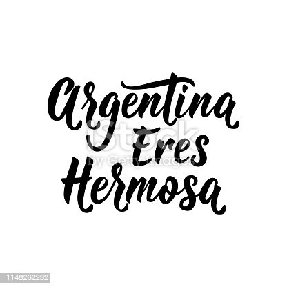 istock text in Spanish: Argentina you are beautiful. Vector illustration. Design concept banner, card. Argentina eres hermosa 1148262232
