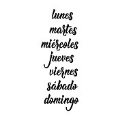 text in Spanish: Monday, Tuesday, Wednesday, Thursday, Friday, Saturday, Sunday. Lettering. calligraphy vector illustration. Lunes, martes, miercoles, jueves, viernes, sabado, domingo.
