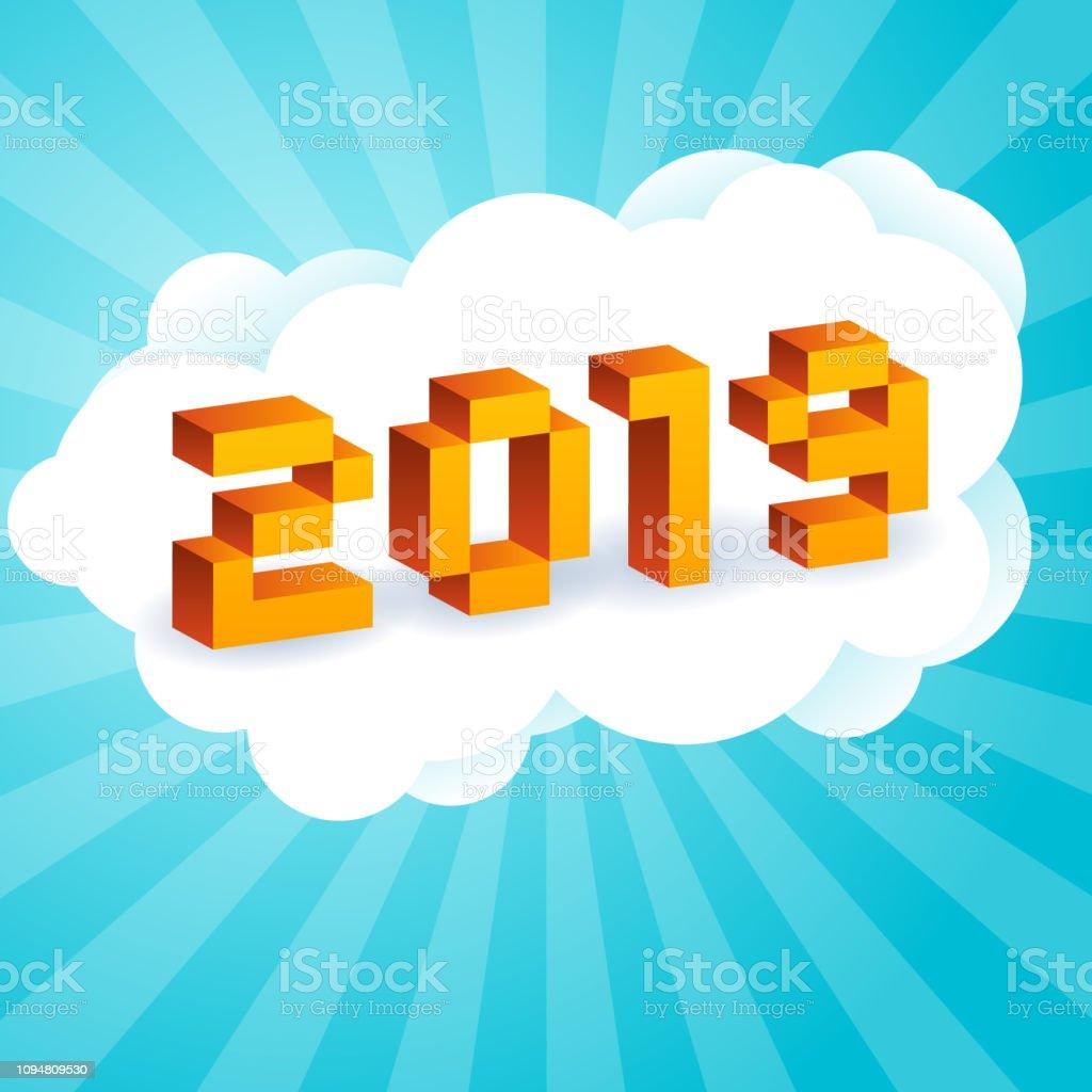 昔の 8 ビット ビデオ ゲームのスタイルの 2019年テキスト。活気に満ちた 3 D ピクセルの文字。新しい年ポスター、チラシ テンプレート。青色の背景にホリデイ ・ レトロなベクトル イラスト ベクターアートイラスト