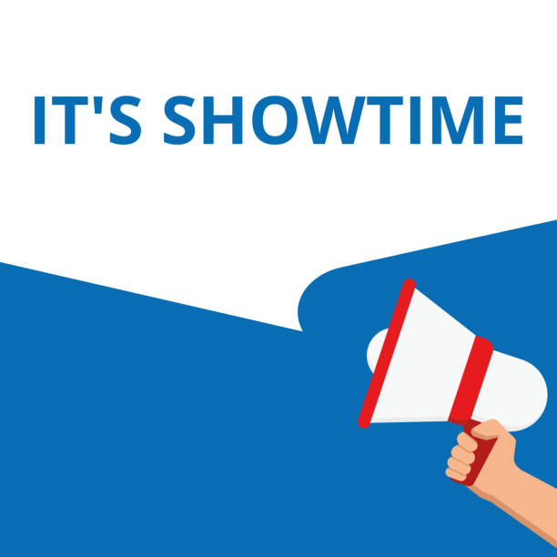 text It s is Showtime. vector art illustration
