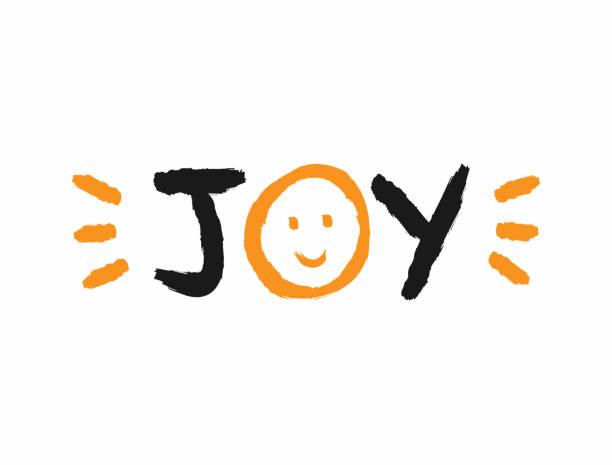 ilustrações de stock, clip art, desenhos animados e ícones de text joy with a smiling face and splashes of paint. sketch, grunge, watercolor, graffiti. - alegria