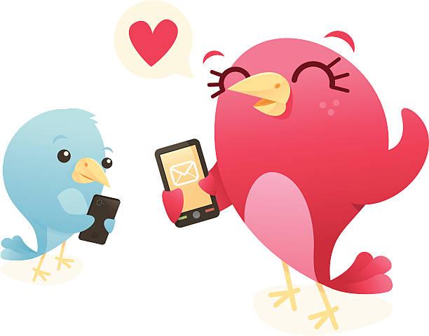 Text Love Birds vector art illustration