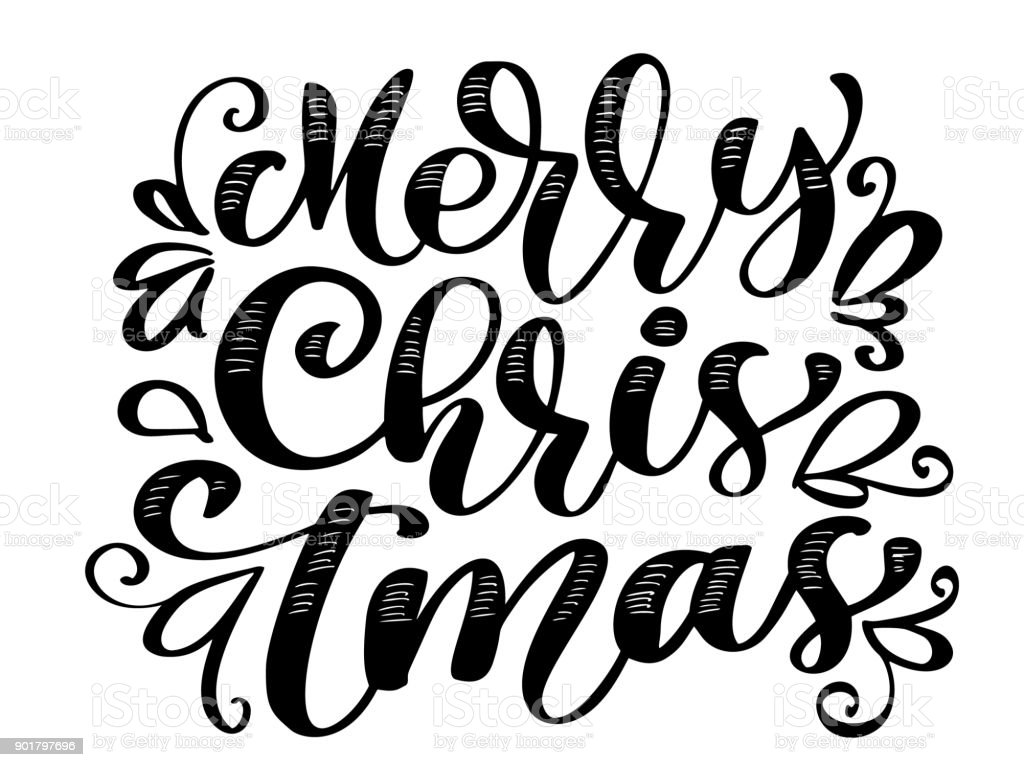 Text merry christmas hand written calligraphy lettering handmade