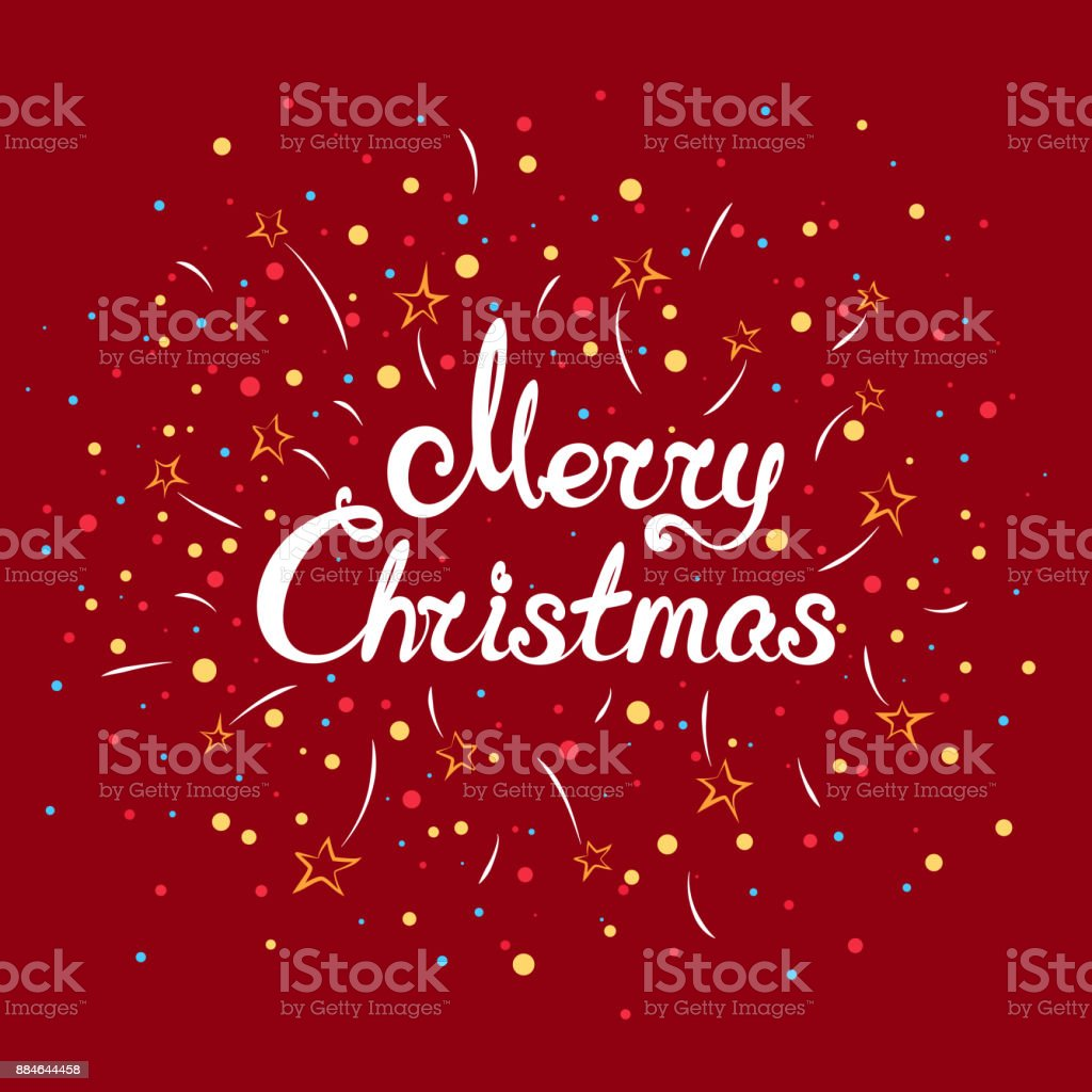 Text Merry Christmas with Fireworks vector art illustration