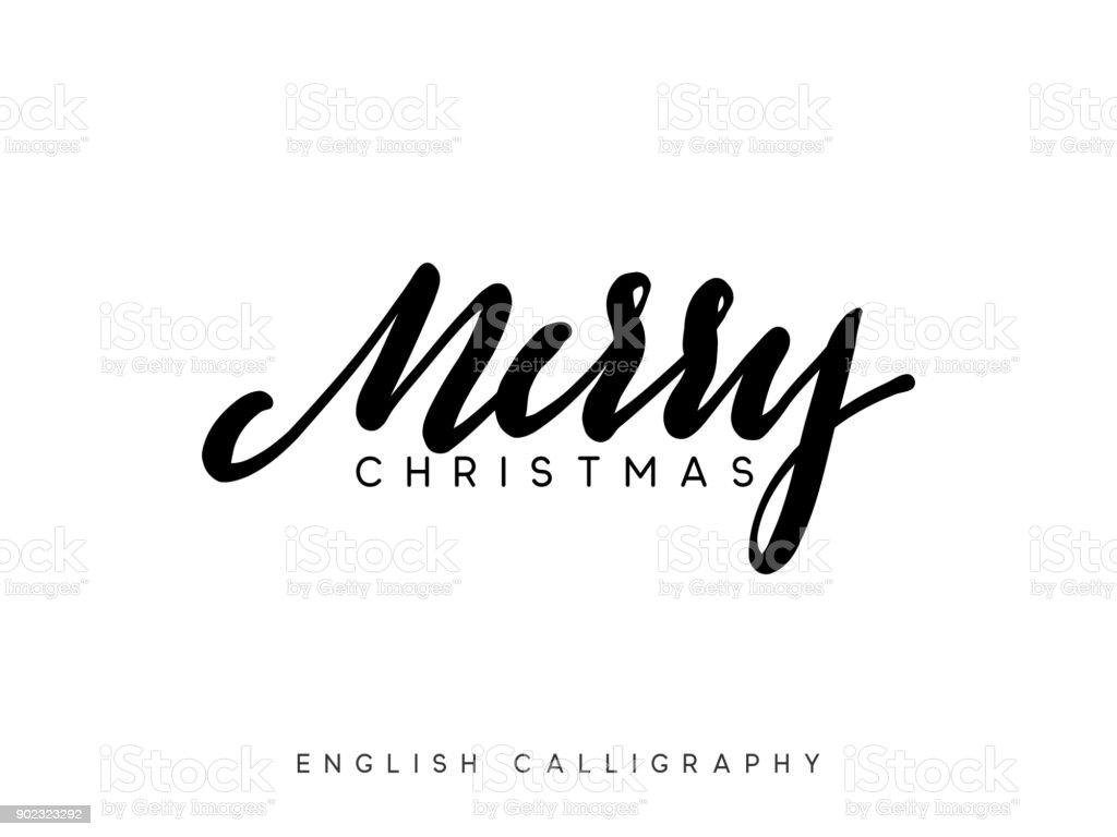 Text Frohe Weihnachten Xmas Handgezeichnete Kalligraphie Schrift ...