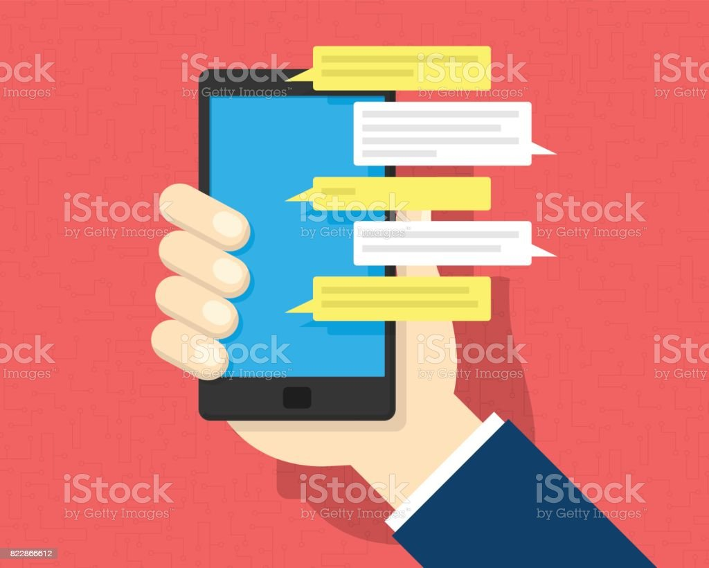 Sms Text Message On Smartphone Stock Illustration - Download Image