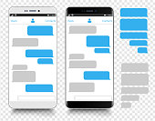 istock Text Messaging. Smartphone, Mobile Phone Template realistic vector  illustration. Speech Bubble. Discussion 1144948945