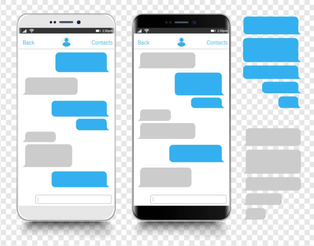 text messaging. smartphone, mobile phone template realistic vector  illustration. speech bubble. discussion - smartphone stock illustrations