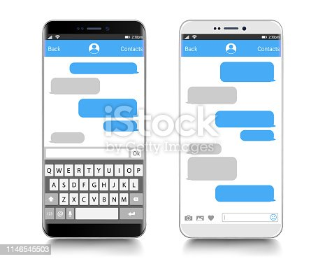 Text Messaging. Smartphone, Mobile Phone Template realistic vector  illustration. Speech Bubble. Discussion. Messenger page template