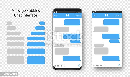 istock Text Messaging. Smartphone, Mobile Phone Template realistic vector  illustration. Speech Bubble. Discussion 1204500665