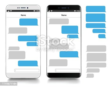 Text Messaging. Smartphone, realistic vector  illustration