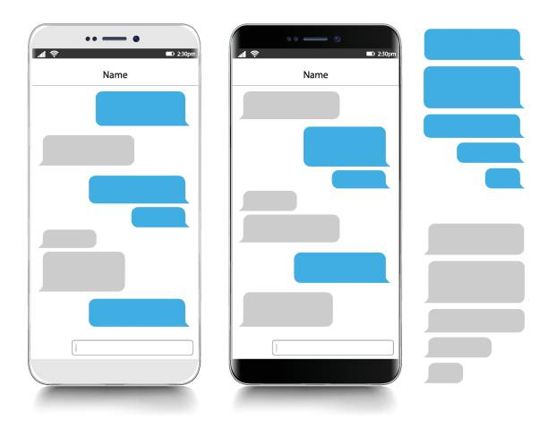 Text Messaging. Smartphone, realistic vector  illustration Text Messaging. Smartphone, realistic vector  illustration text stock illustrations