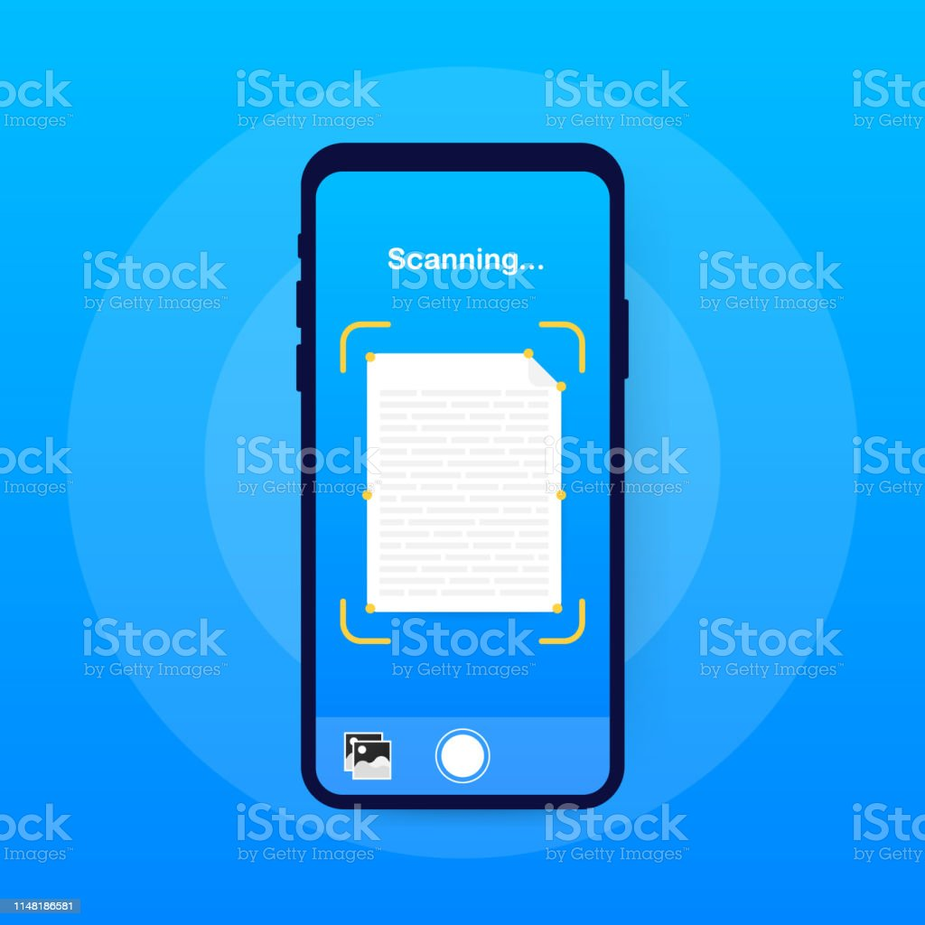 Text Scan Document Scanner Smartphone Interface Vector Template