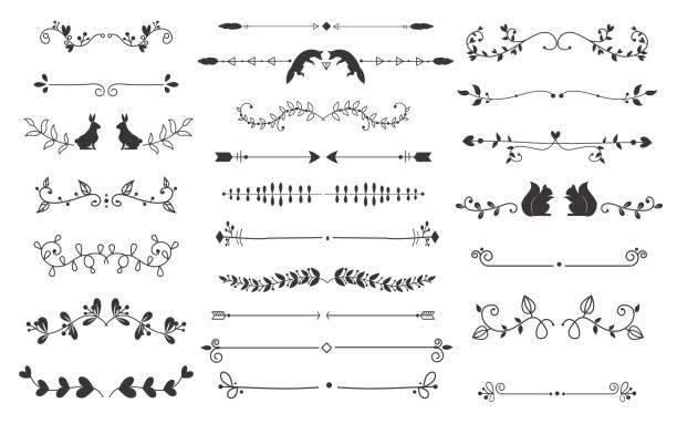 illustrations, cliparts, dessins animés et icônes de text separators deccoration vector set. - cadres décoratifs