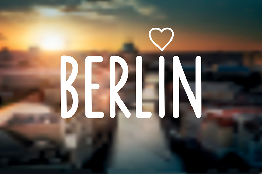 text sign on blurred berlin night background