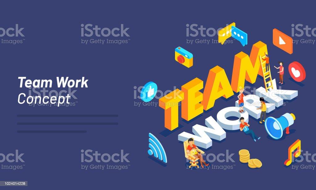 3d Text Teamwork Modern Flat Design With Miniature People